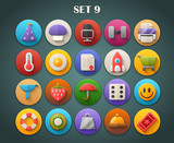 Round Bright Icons with Long Shadow Set 9