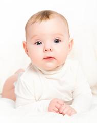 happy  newborn baby on white background
