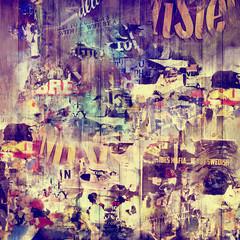 Fond bois et affiches vintages