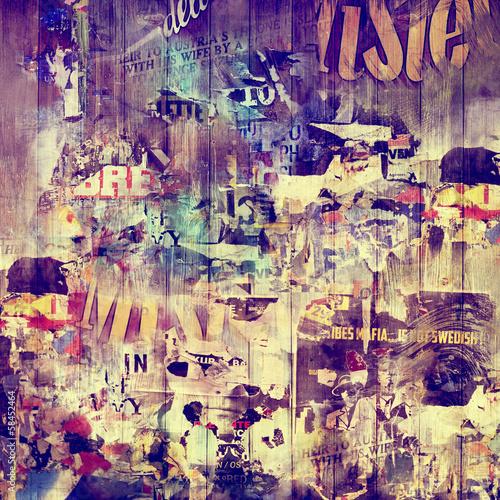 Zdjęcia na płótnie, fototapety na wymiar, obrazy na ścianę : Fond bois et affiches vintages