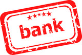 bank word on red rubber grunge stamp
