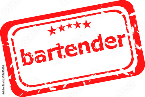 bartender on red rubber stamp over a white background