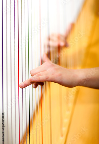 Male hands playing harp