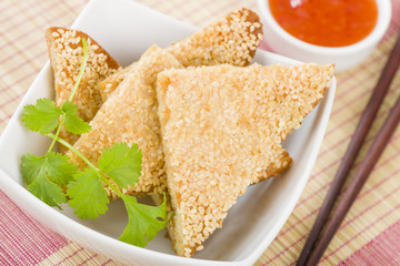 Prawn Toast - Chinese bread with minced shrimp and sesame