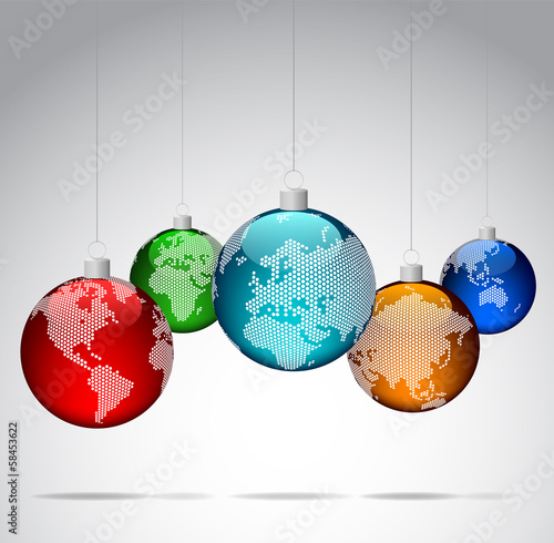 Christmas ornaments with world dotted maps