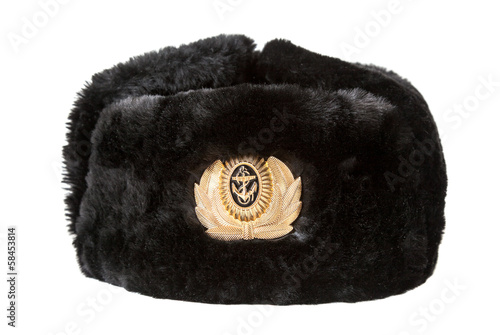 Russian navy officer's winter hat isolated on white background