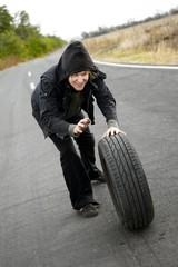 Man With Wheel
