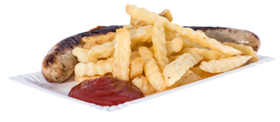 Isolated Bratwurst with French Fries