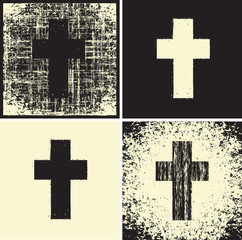 set of banners with a cross and a variety of textures