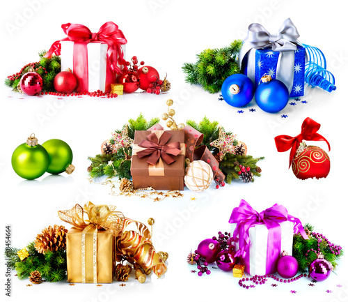 Christmas. Collage of Colorful New Year's Gifts and Decorations