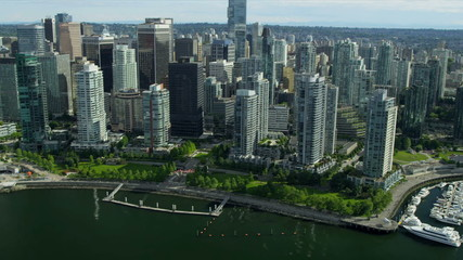 Aerial view Downtown skyscrapers and yacht marina, Vancouver