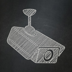 Security concept: Cctv Camera on chalkboard background
