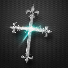 Metal Jesus Cross with power sparkling light effect on grey back