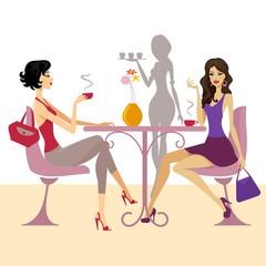speaking women in the cafe