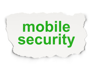 Safety concept: Mobile Security on Paper background