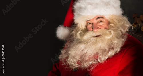 Santa Claus closeup portrait indoors in real life