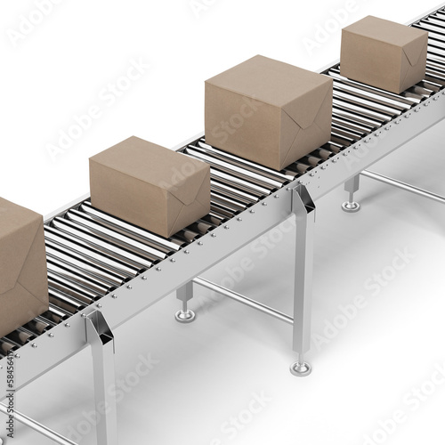 Cardboard boxes on a conveyor belt