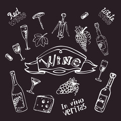 Wine set on chalk board