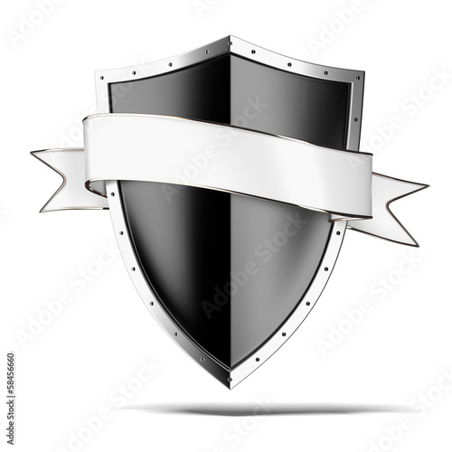 Black shield with tag