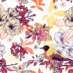 Seamless floral pattern with bird