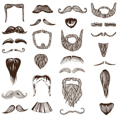Set of hand drawn Moustache / Mustache - photo booth, costume