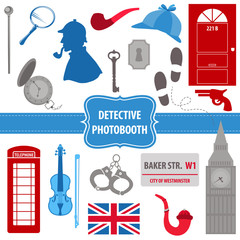 Detective Sherlock Party set - photobooth props - silhouettes