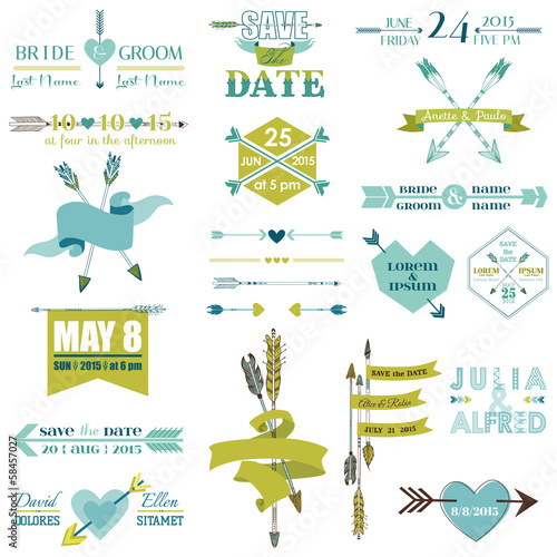 Wedding Graphic Set, Arrows, Feathers, Heart, Ribbons and Labels