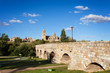 Ancient roman bridge with a view of Salamanca