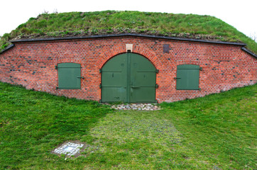 Closeup for Polish old bunker on Gradowa Hill