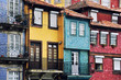 Colorful facades of old houses of Porto, Portugal