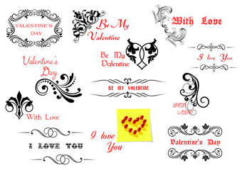 Valentine's Day holiday design elements