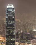 Aerial photo of IFC hong kong at night