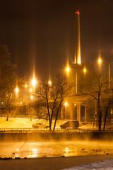 City lights at night winter