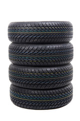 Stack of tires isolated on white