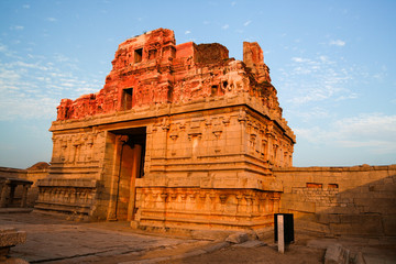 Ruins in hampi india at sunset