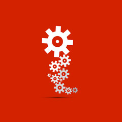 abstract vector cogs, gears on red background