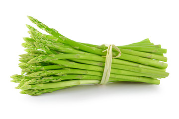 Asparagus sprouts isolated on white background