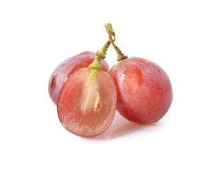 Red grape sliced in a half