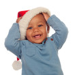 Adorable african baby with Christmas hat