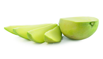Sliced green mango on a white background