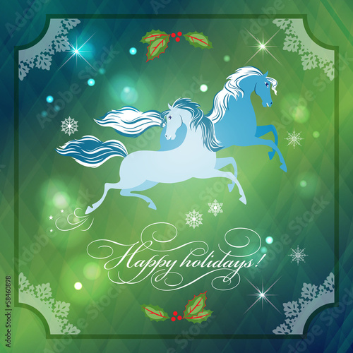 Christmas Horses on Abstract Night Background