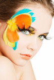 Beautiful woman with abstract make up.