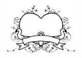 heart with swan frame vintage style vector
