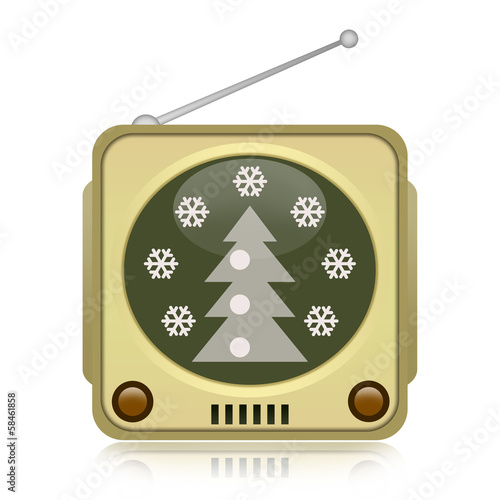 Christmas tv isolated on white background