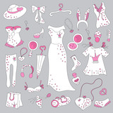 Stylish hand drawn set of women fashion items