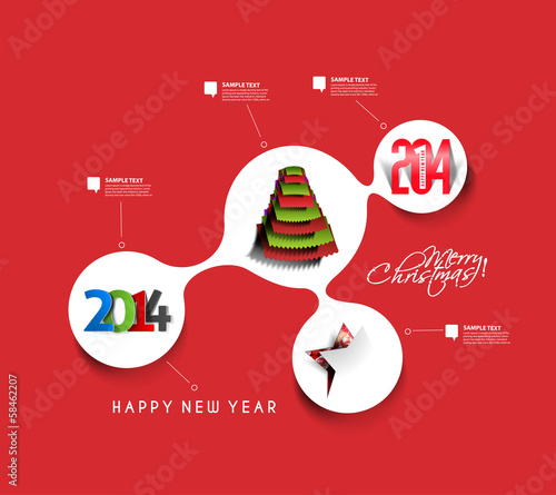 Christmas & New Year Time Line Background, Vector Illustration