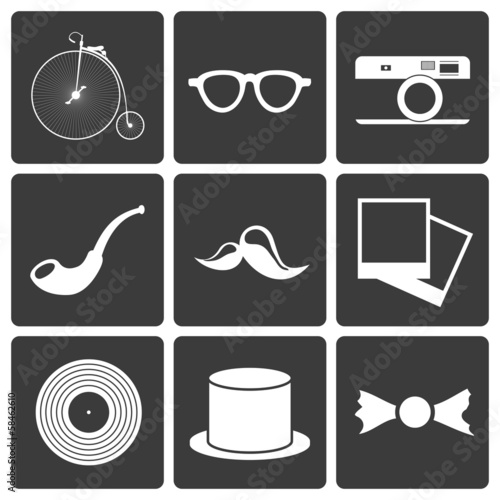Icons with set hipster items