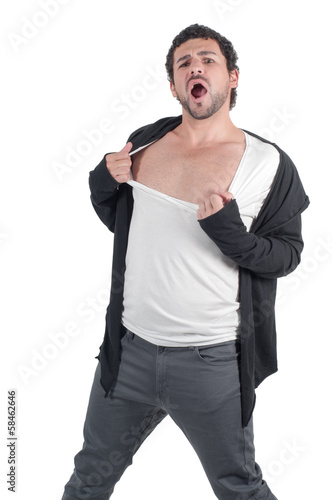 Man man ripping his shirt