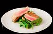 Lightly seared tuna steak and fresh salad