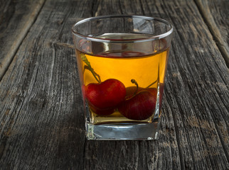 Whiskey Cocktail With Cherries